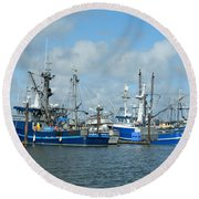 Westport Fishing Boats Round Beach Towel