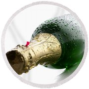 Wet Champagne Bottle Round Beach Towel