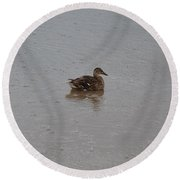 Wet Duck Round Beach Towel