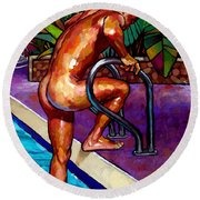 Wet From The Pool Round Beach Towel