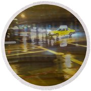 Round Beach Towel featuring the photograph Wet Pavement by Alex Lapidus