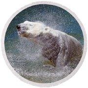 Wet Polar Bear Round Beach Towel