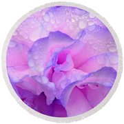 Wet Rose In Pink And Violet Round Beach Towel