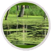 Round Beach Towel featuring the photograph Wetland Reflection by Ann Horn