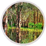 Round Beach Towel featuring the photograph Wetland Reflections by Wallaroo Images