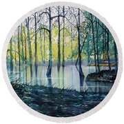 Wetlands On Skipwith Common Round Beach Towel