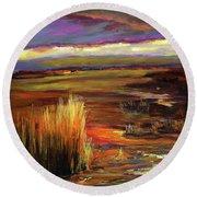 Wetlands Sunset Iv Round Beach Towel