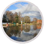 Wey Canal Surrey England Uk Round Beach Towel