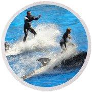 Whale Racing Round Beach Towel by David Nicholls