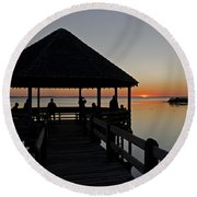 Round Beach Towel featuring the photograph Whalehead Sunset Obx by Greg Reed