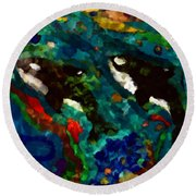 Whales At Sea - Orcas - Abstract Ink Painting Round Beach Towel