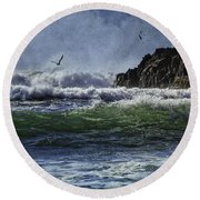 Whales Head Beach Southern Oregon Coast Round Beach Towel