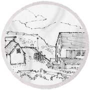 Wharf On Monhegan Island 1993 Round Beach Towel
