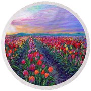 Tulip Fields, What Dreams May Come Round Beach Towel by Jane Small