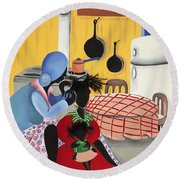 What's Cooking Round Beach Towel