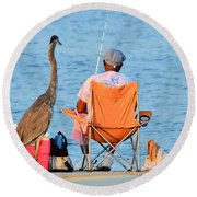 Round Beach Towel featuring the photograph What's For Lunch by Charlotte Schafer