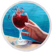 What's In Your Goblet? Round Beach Towel