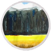Wheat Field 2 Round Beach Towel