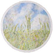 Wheat Field And Wildflowers Round Beach Towel