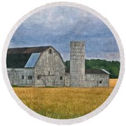Wheat Field Barn Round Beach Towel