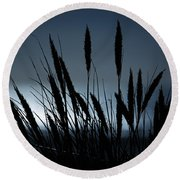 Wheat Stalks On A Dune At Moonlight Round Beach Towel