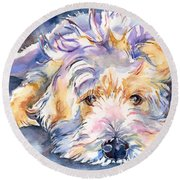 Wheaten Terrier Painting Round Beach Towel by Maria's Watercolor