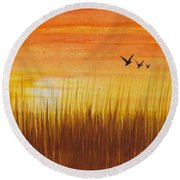 Wheatfield At Sunset Round Beach Towel