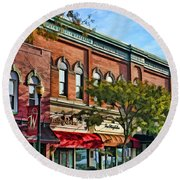 Wheaton Front Street Stores Round Beach Towel by Christopher Arndt
