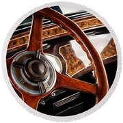 Classic Cars Round Beach Towel featuring the photograph Wheel To The Past by Aaron Berg