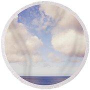 When Clouds Meet The Sea Round Beach Towel