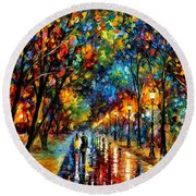 When Dreams Come True - Palette Knlfe Landscape Park Oil Painting On Canvas By Leonid Afremov Round Beach Towel