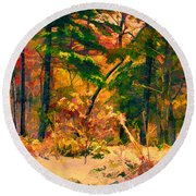 When Fall Becomes Winter Round Beach Towel