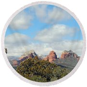 When Far Clouds Depart Round Beach Towel