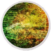 Round Beach Towel featuring the mixed media When Past And Present Intersect #1 by Sandy MacGowan