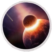 When Planets Collide Round Beach Towel