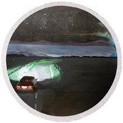 Round Beach Towel featuring the painting When The Night Start To Walk Listen With Music Of The Description Box by Lazaro Hurtado