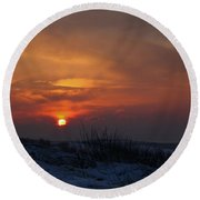 When The Sun Goes Down  Round Beach Towel