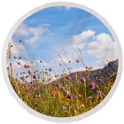 When The Sun Is Shining Everything Around Smiling Towards. Scotland Round Beach Towel