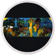 Where Do We Come From. What Are We Doing. Where Are We Going Round Beach Towel by Paul Gauguin