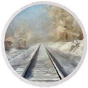Round Beach Towel featuring the painting Where Is The Train by Dragica  Micki Fortuna