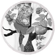 Round Beach Towel featuring the digital art Where The Best Apples Are by Carol Jacobs