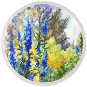 Where The Delphinium Blooms Round Beach Towel by Carol Wisniewski