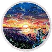 Round Beach Towel featuring the painting Where The Fairies Play by Shana Rowe Jackson