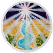 Where The Road Is Paved In Gold Round Beach Towel