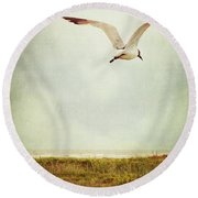 Where To Go? Round Beach Towel by Trish Mistric