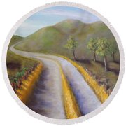 Autumn Road Round Beach Towel by Laurie Morgan