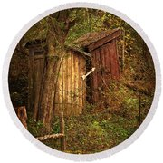 Which Way To The Outhouse? Round Beach Towel