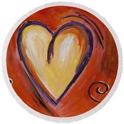 Whimsical  Abstract Art - With All My Heart Round Beach Towel