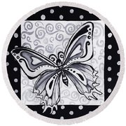 Whimsical Black And White Butterfly Original Painting Decorative Contemporary Art By Madart Studios Round Beach Towel