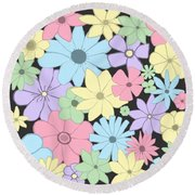 Whimsical Pastel Flowers Round Beach Towel